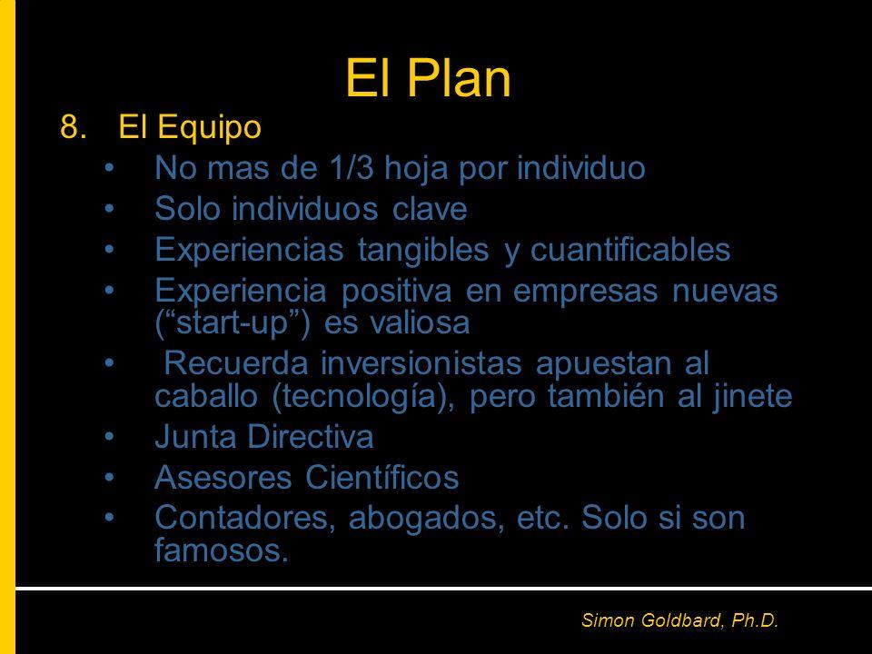 El Plan El Equipo No mas de 1/3 hoja por individuo