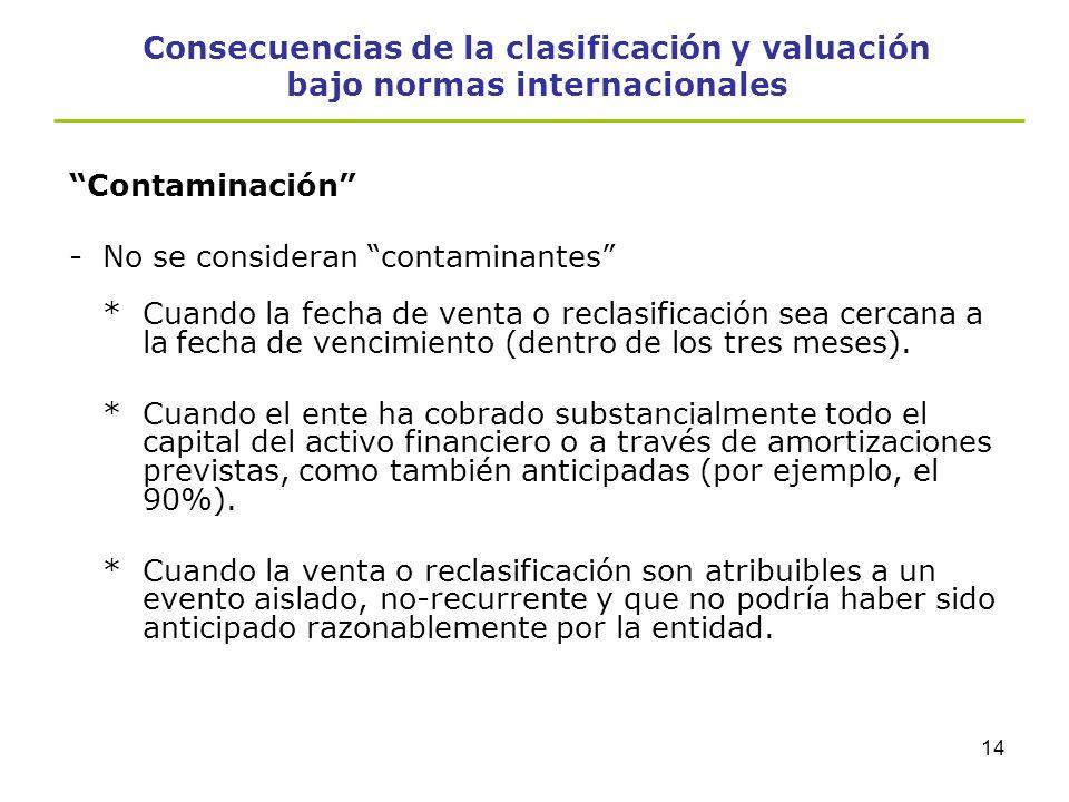 Consecuencias de la clasificación y valuación bajo normas internacionales