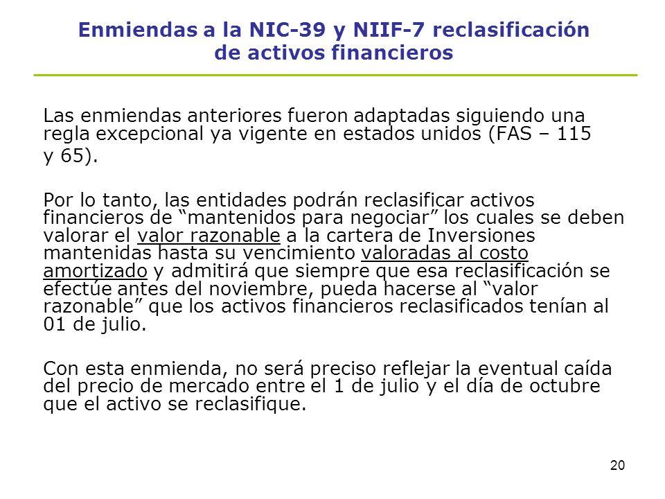 Enmiendas a la NIC-39 y NIIF-7 reclasificación de activos financieros