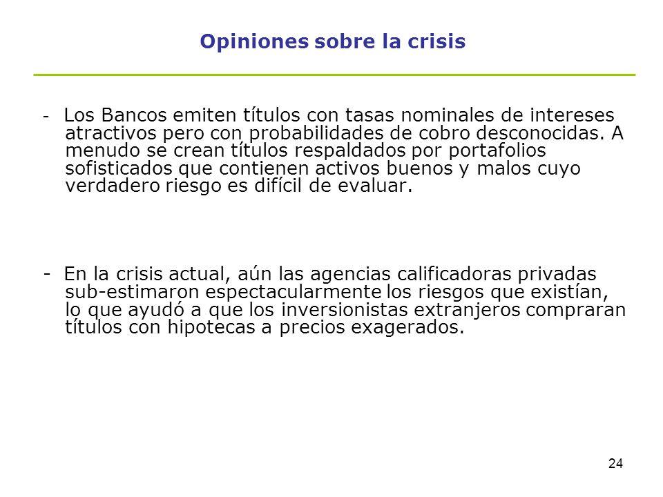 Opiniones sobre la crisis