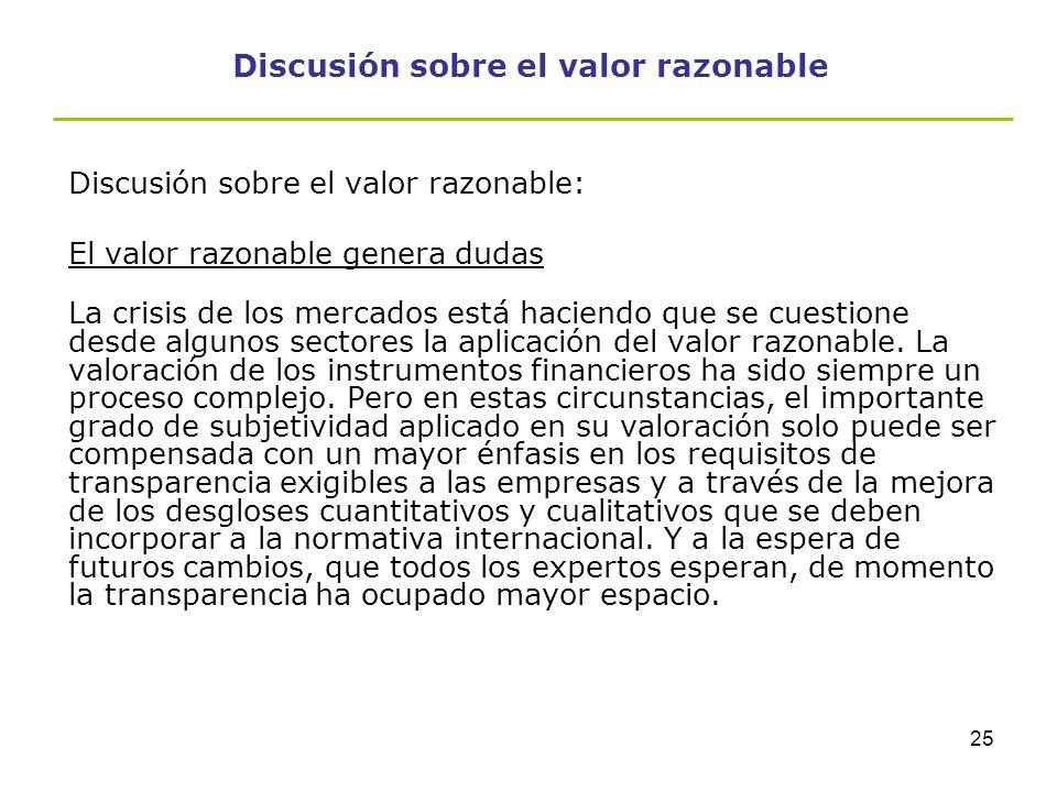 Discusión sobre el valor razonable