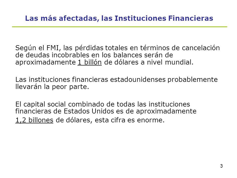 Las más afectadas, las Instituciones Financieras