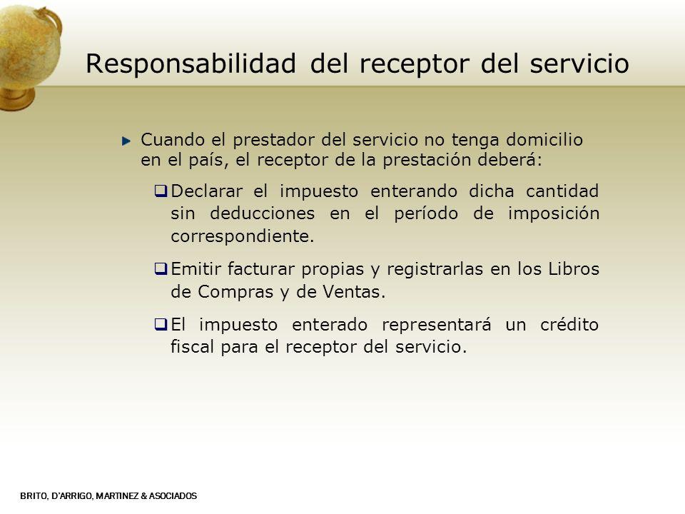 Responsabilidad del receptor del servicio