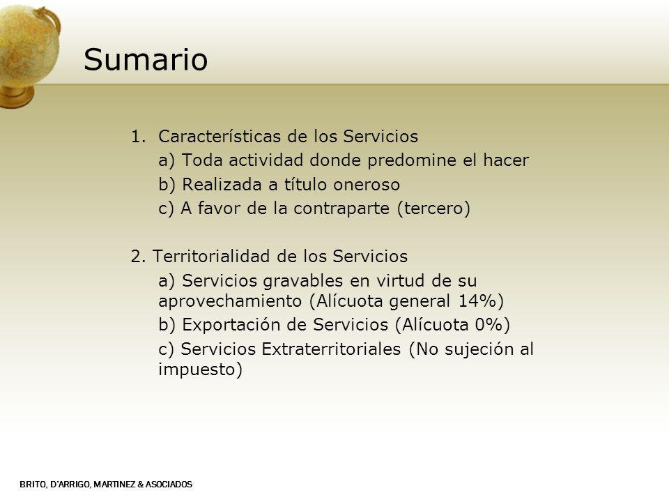 Sumario Características de los Servicios
