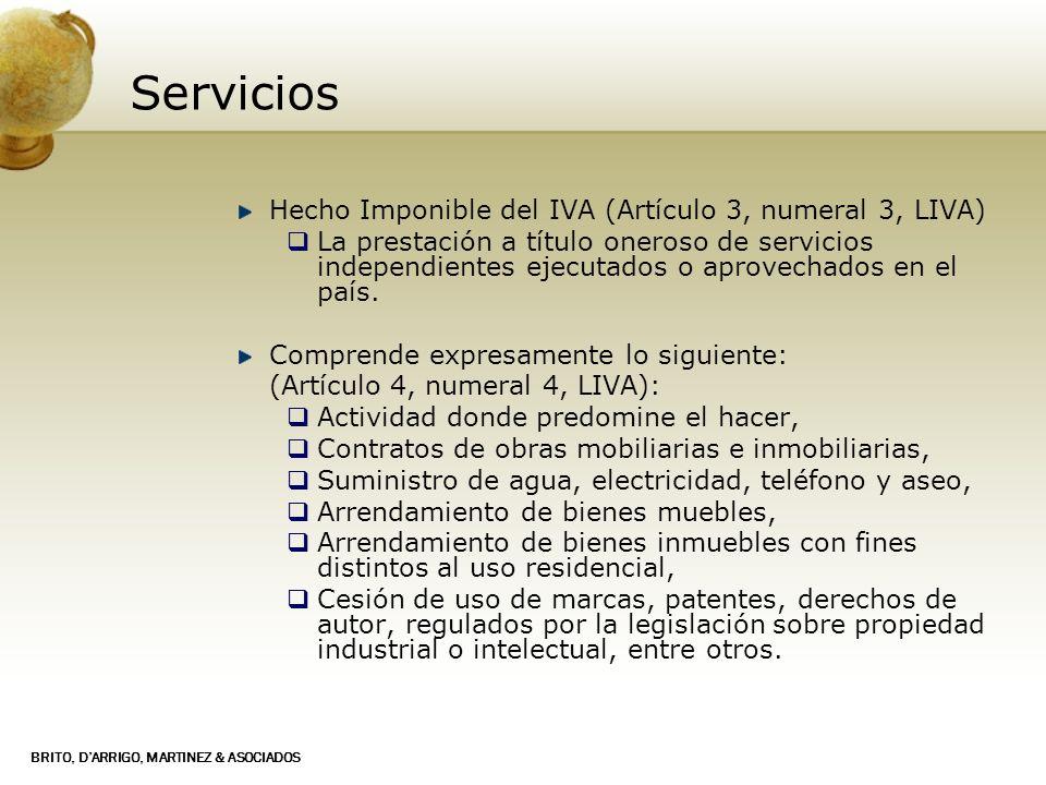 Servicios Hecho Imponible del IVA (Artículo 3, numeral 3, LIVA)