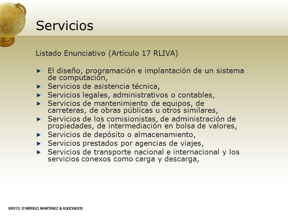 Servicios Listado Enunciativo (Artículo 17 RLIVA)