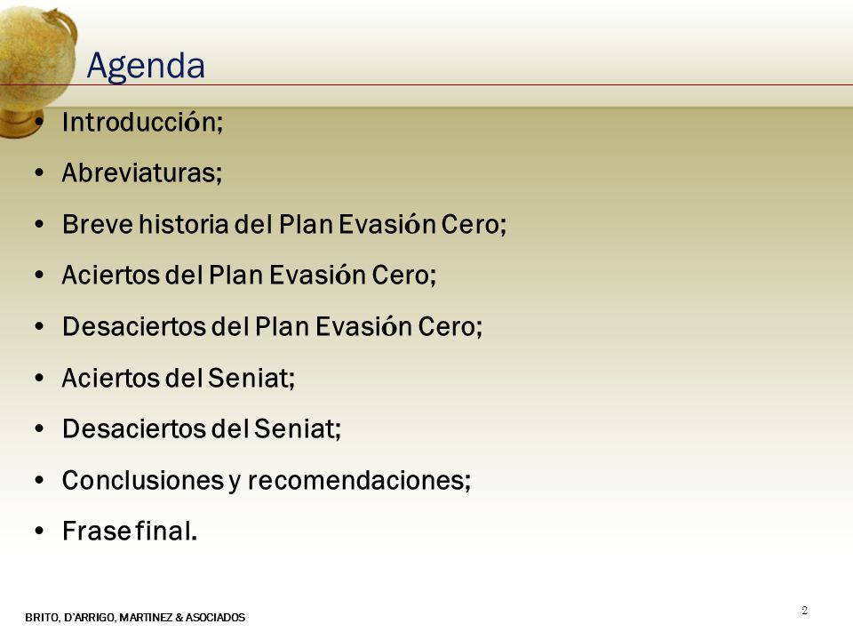 Agenda Introducción; Abreviaturas;