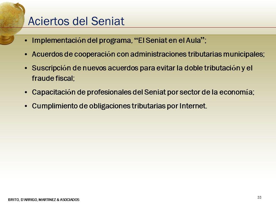 Aciertos del Seniat Implementación del programa, El Seniat en el Aula ; Acuerdos de cooperación con administraciones tributarias municipales;