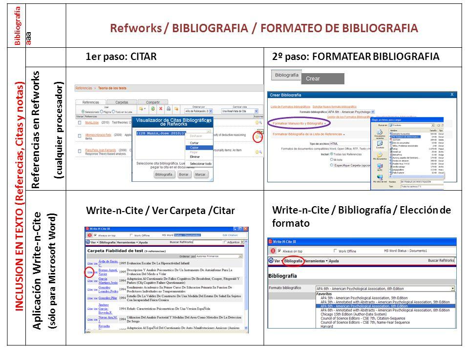 Refworks / BIBLIOGRAFIA / FORMATEO DE BIBLIOGRAFIA