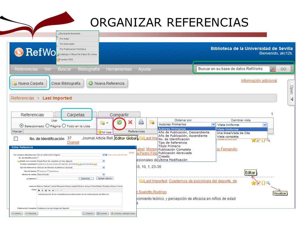 ORGANIZAR REFERENCIAS