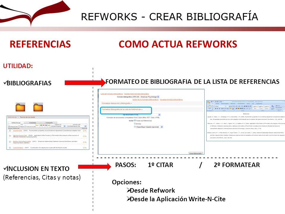 REFERENCIAS COMO ACTUA REFWORKS REFWORKS - CREAR BIBLIOGRAFÍA