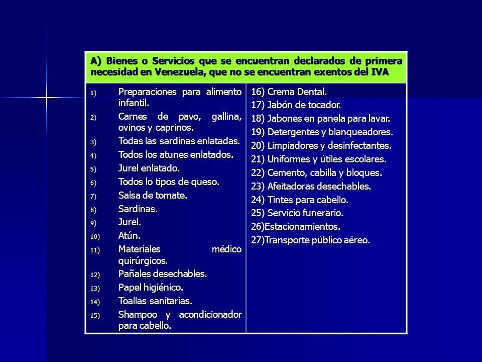 A) Bienes o Servicios que se encuentran declarados de primera necesidad en Venezuela, que no se encuentran exentos del IVA
