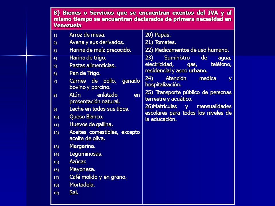 B) Bienes o Servicios que se encuentran exentos del IVA y al mismo tiempo se encuentran declarados de primera necesidad en Venezuela