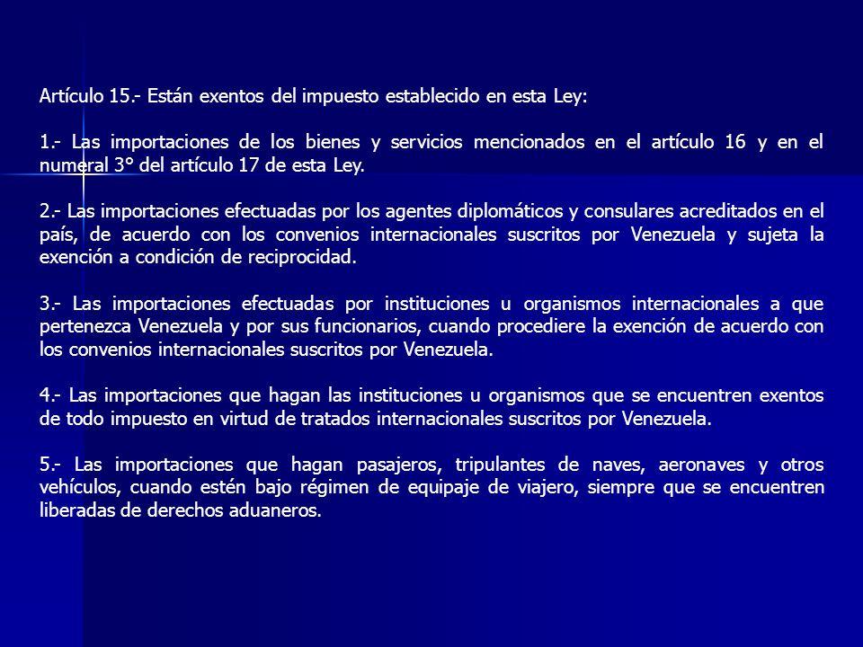 Artículo 15.- Están exentos del impuesto establecido en esta Ley: