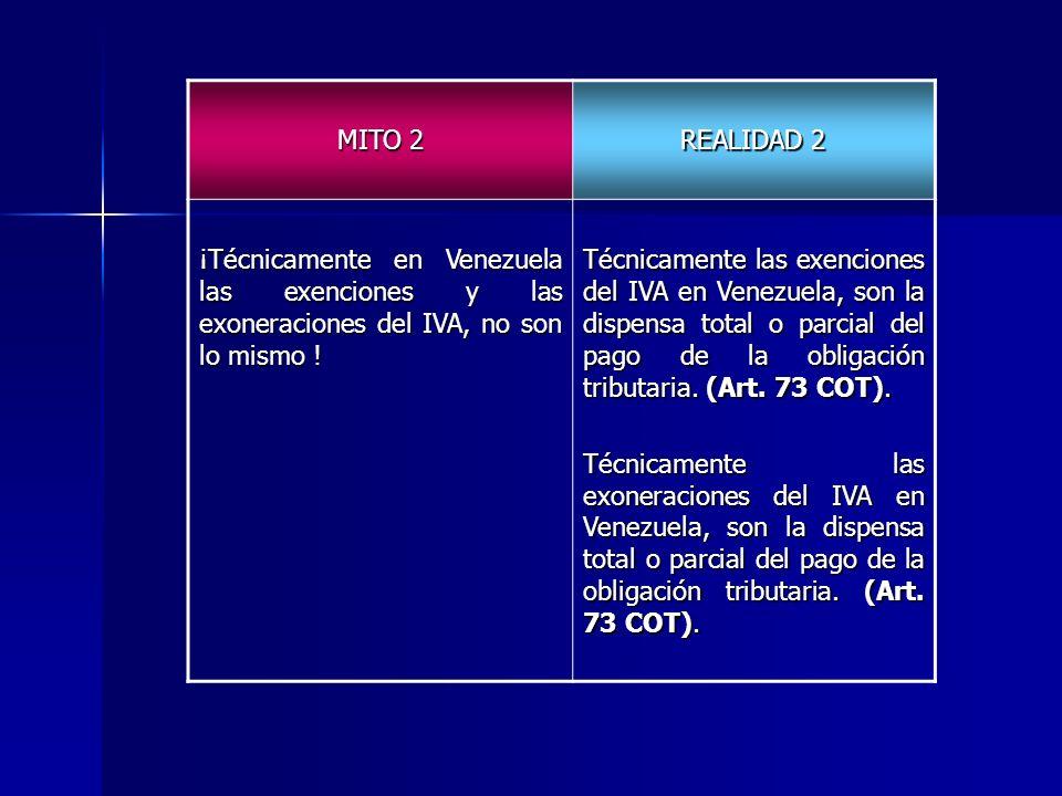 MITO 2REALIDAD 2. ¡Técnicamente en Venezuela las exenciones y las exoneraciones del IVA, no son lo mismo !