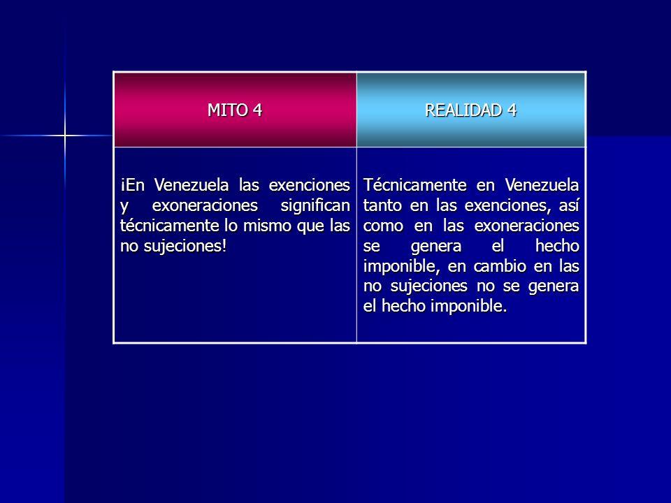 MITO 4 REALIDAD 4. ¡En Venezuela las exenciones y exoneraciones significan técnicamente lo mismo que las no sujeciones!
