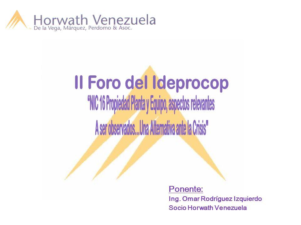 II Foro del Ideprocop NIC 16 Propiedad Planta y Equipo, aspectos relevantes. A ser observados…Una Alternativa ante la Crisis