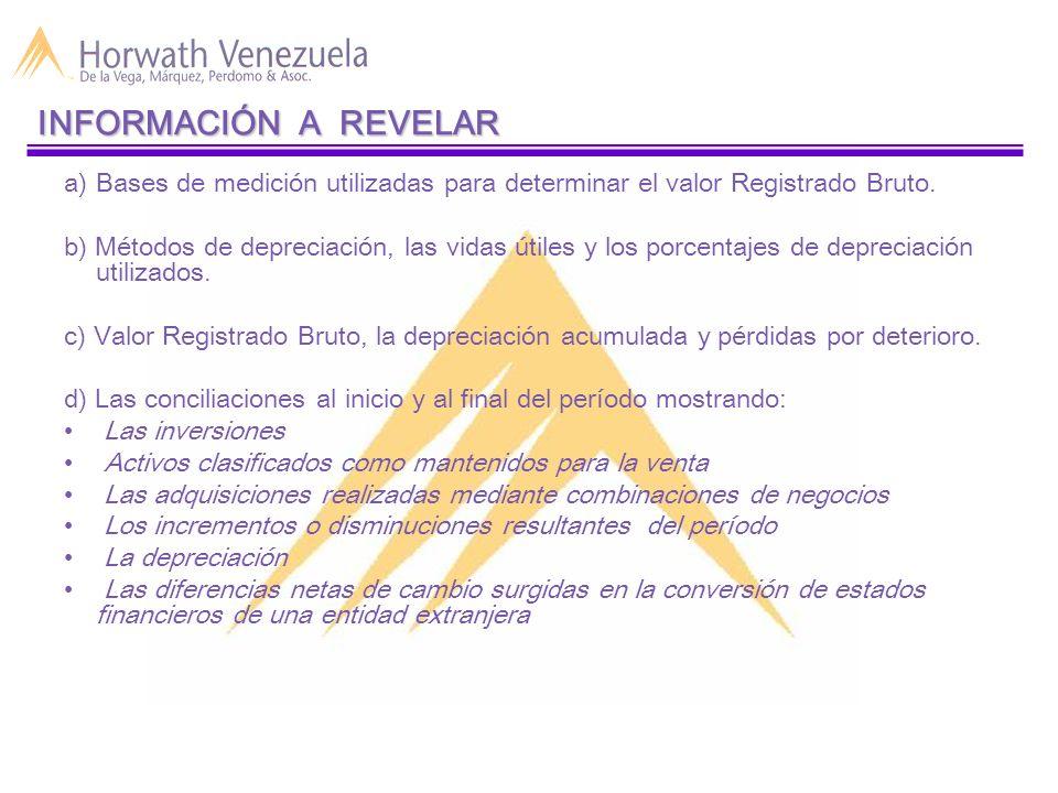 INFORMACIÓN A REVELAR Bases de medición utilizadas para determinar el valor Registrado Bruto.