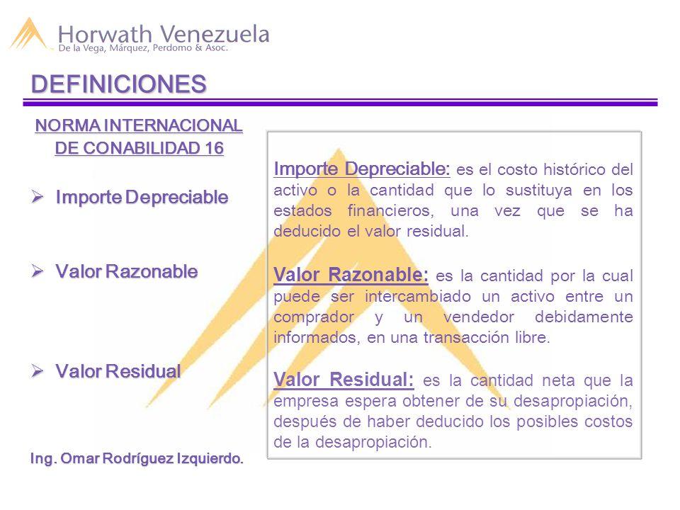 DEFINICIONES NORMA INTERNACIONAL. DE CONABILIDAD 16. Importe Depreciable. Valor Razonable. Valor Residual.