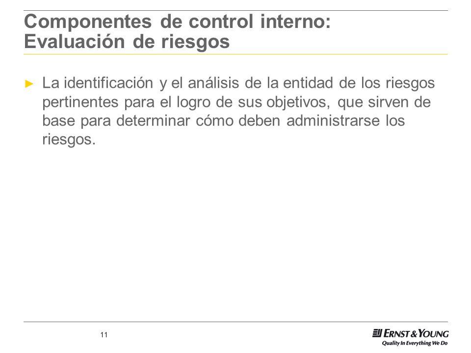Componentes de control interno: Evaluación de riesgos
