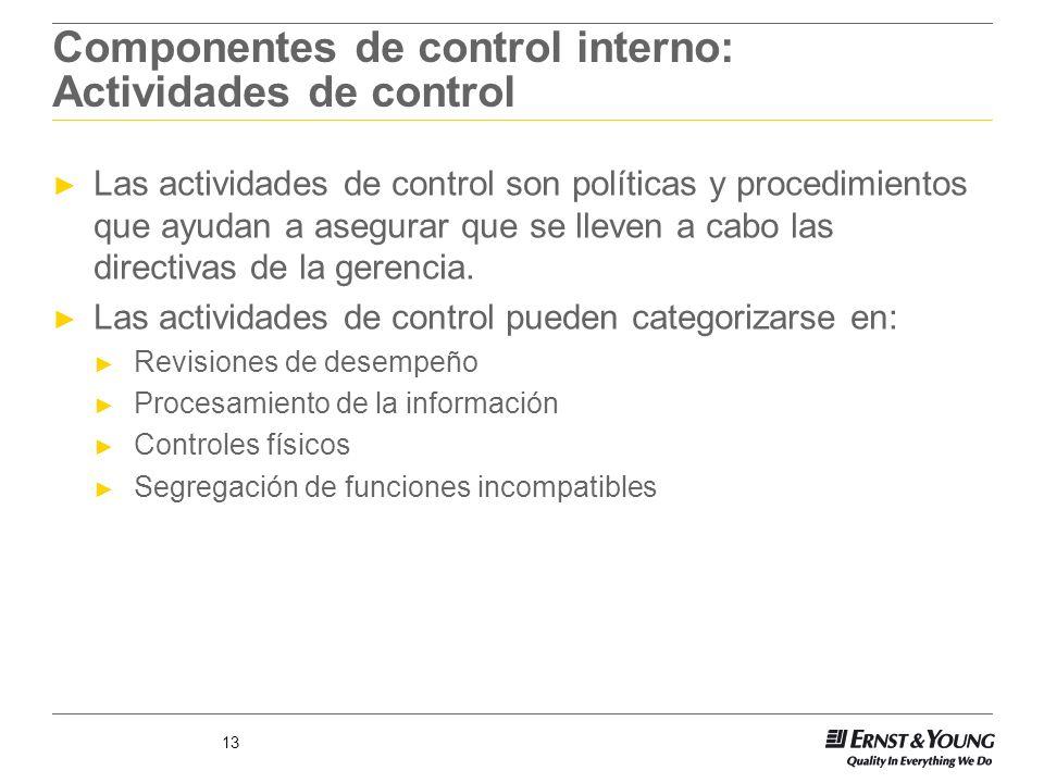 Componentes de control interno: Actividades de control