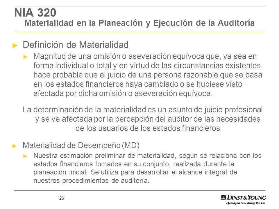 NIA 320 Materialidad en la Planeación y Ejecución de la Auditoría