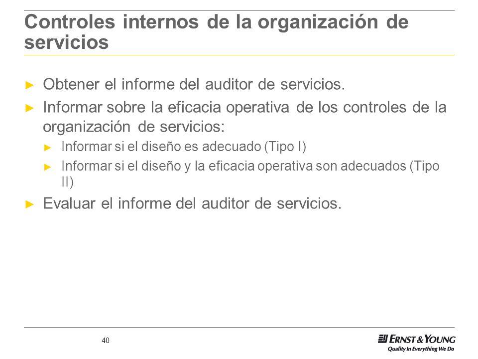 Controles internos de la organización de servicios