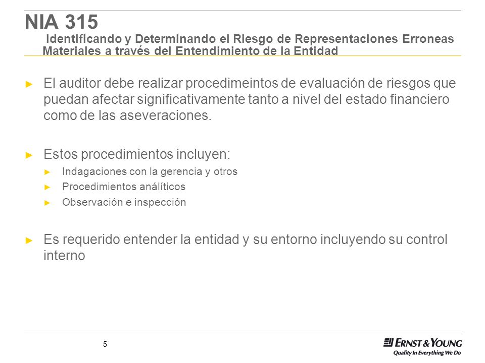 NIA 315 Identificando y Determinando el Riesgo de Representaciones Erroneas Materiales a través del Entendimiento de la Entidad