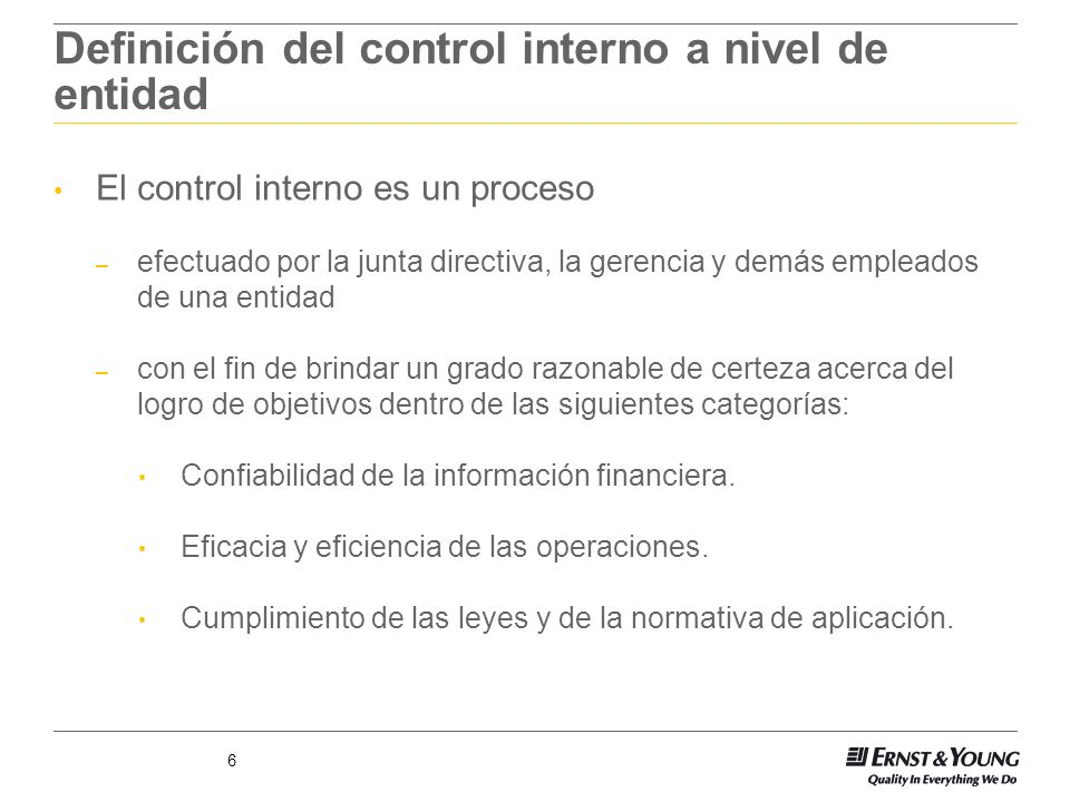 Definición del control interno a nivel de entidad