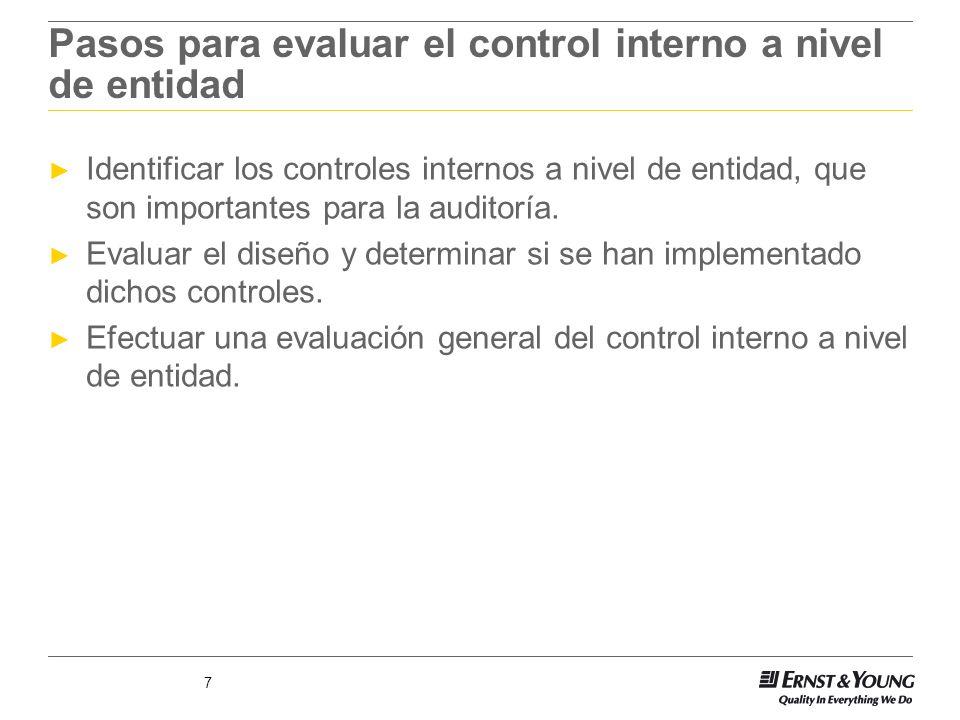 Pasos para evaluar el control interno a nivel de entidad