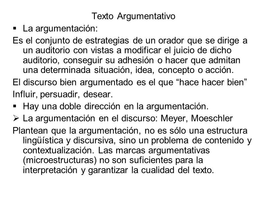 Texto Argumentativo La argumentación: