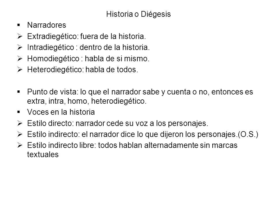 Historia o Diégesis Narradores. Extradiegético: fuera de la historia. Intradiegético : dentro de la historia.