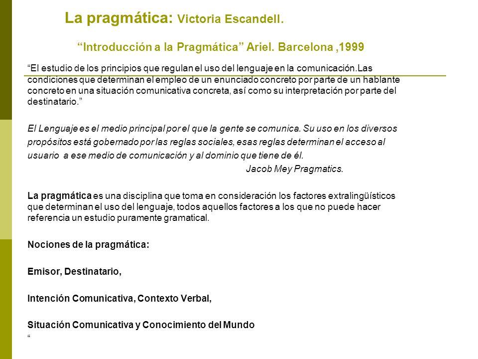 La pragmática: Victoria Escandell. Introducción a la Pragmática Ariel. Barcelona ,1999