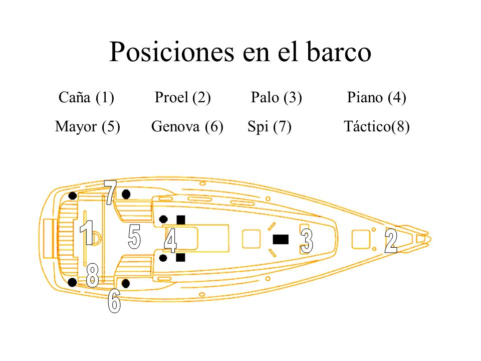 Posiciones en el barco Caña (1) Proel (2) Palo (3) Piano (4) Mayor (5) Genova (6) Spi (7) Táctico(8)