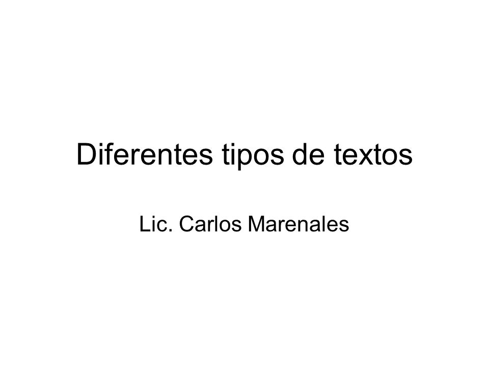 Diferentes tipos de textos