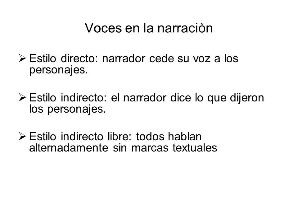 Voces en la narraciòn Estilo directo: narrador cede su voz a los personajes. Estilo indirecto: el narrador dice lo que dijeron los personajes.