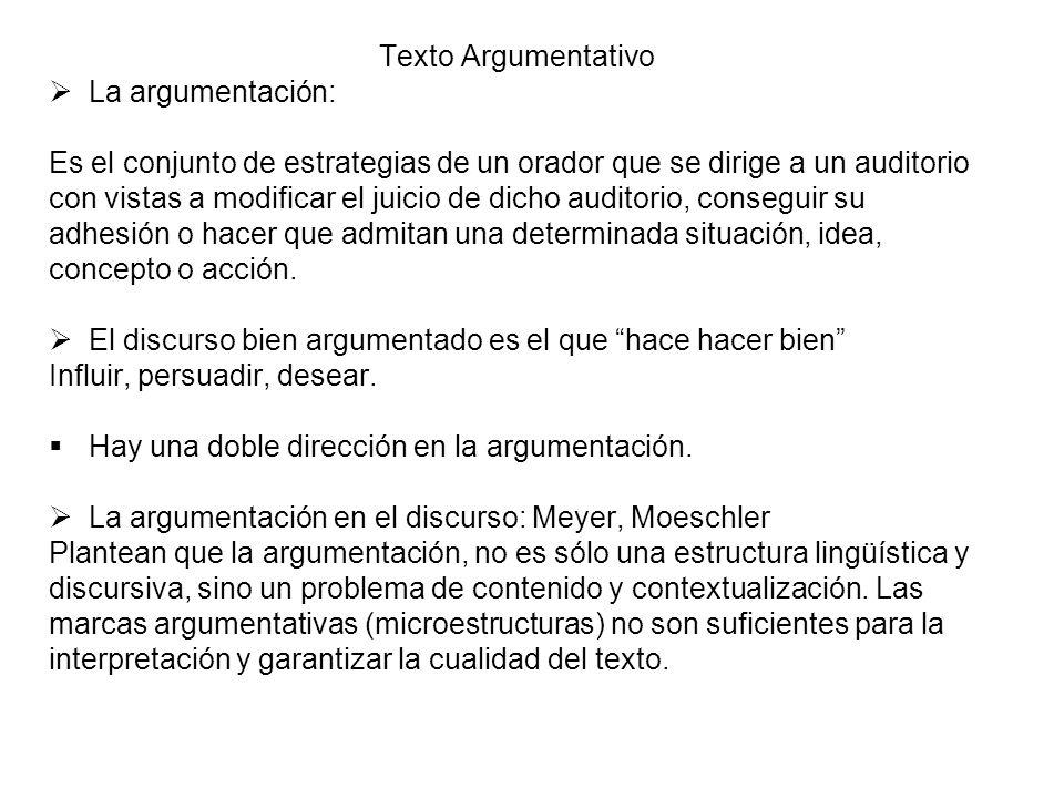 Texto Argumentativo La argumentación: Es el conjunto de estrategias de un orador que se dirige a un auditorio.