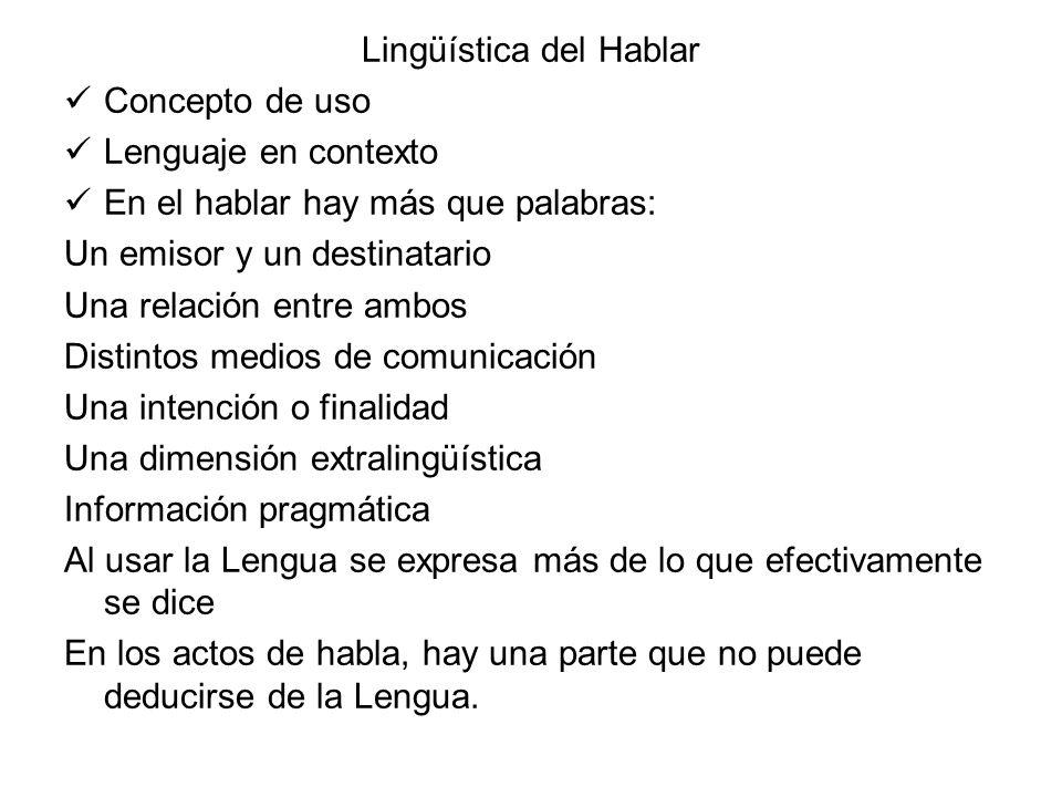 Lingüística del Hablar