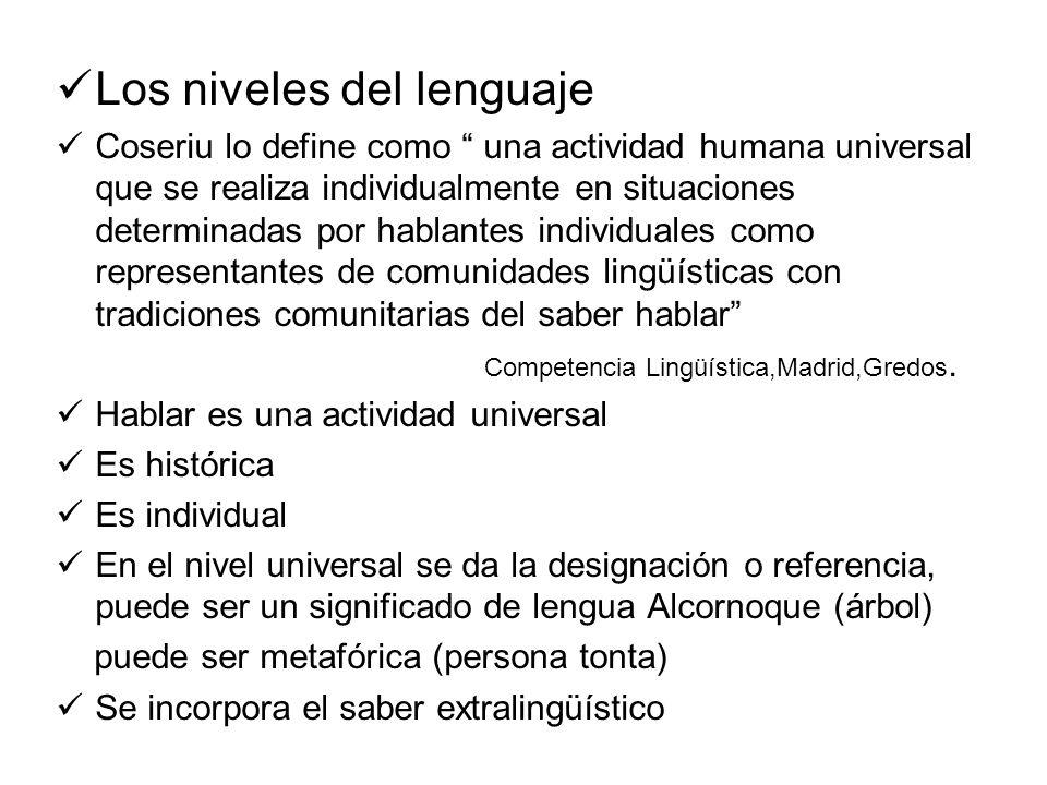 Los niveles del lenguaje