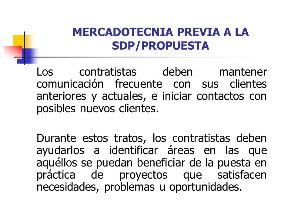 MERCADOTECNIA PREVIA A LA SDP/PROPUESTA