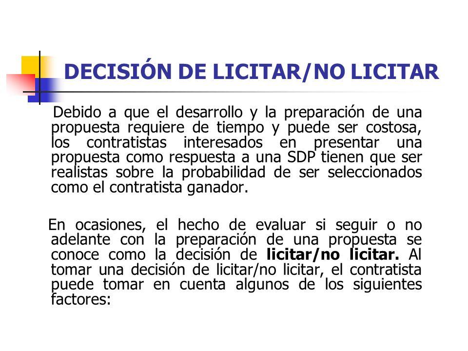 DECISIÓN DE LICITAR/NO LICITAR