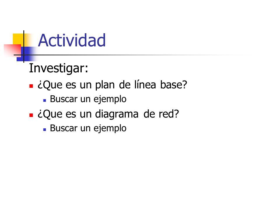 Actividad Investigar: ¿Que es un plan de línea base