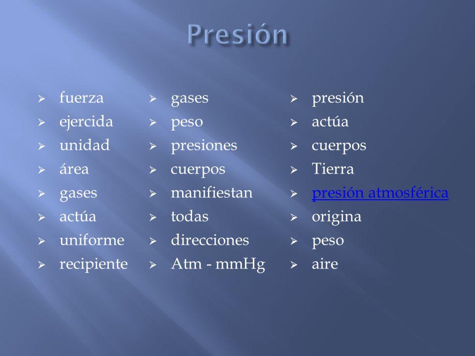 Presión fuerza gases presión ejercida peso actúa unidad presiones