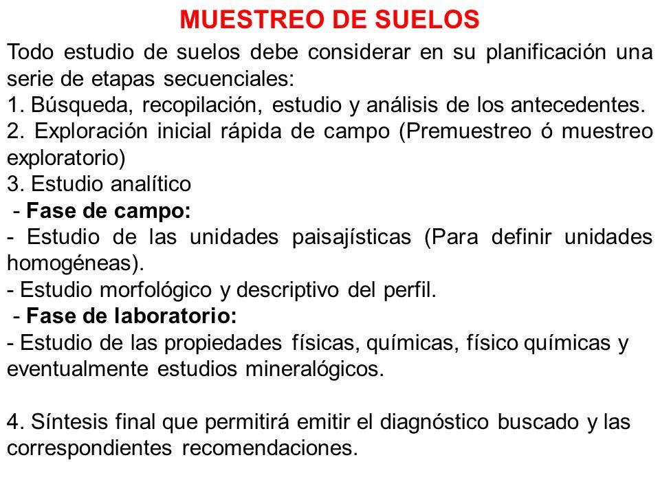 MUESTREO DE SUELOS Todo estudio de suelos debe considerar en su planificación una serie de etapas secuenciales: