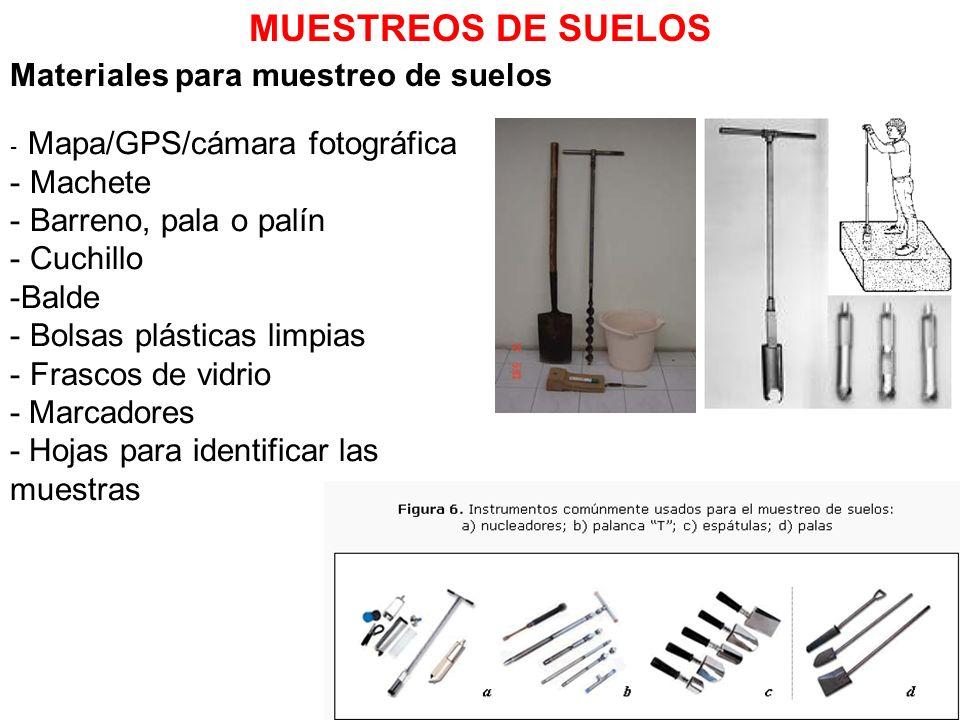 MUESTREOS DE SUELOS Materiales para muestreo de suelos Machete