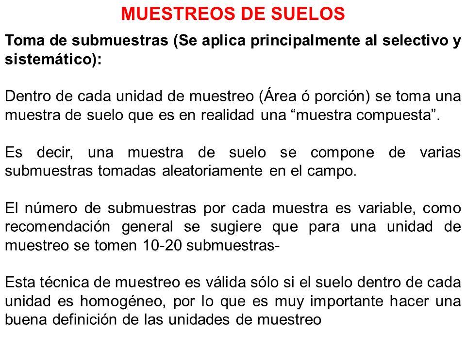 MUESTREOS DE SUELOS Toma de submuestras (Se aplica principalmente al selectivo y sistemático):