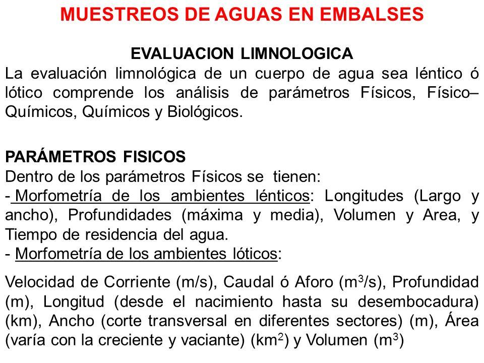 MUESTREOS DE AGUAS EN EMBALSES EVALUACION LIMNOLOGICA