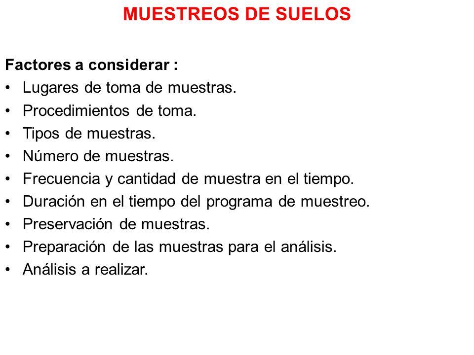 MUESTREOS DE SUELOS Factores a considerar :