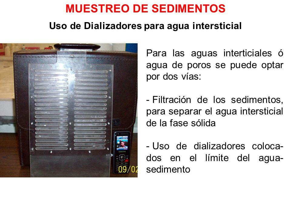 MUESTREO DE SEDIMENTOS Uso de Dializadores para agua intersticial