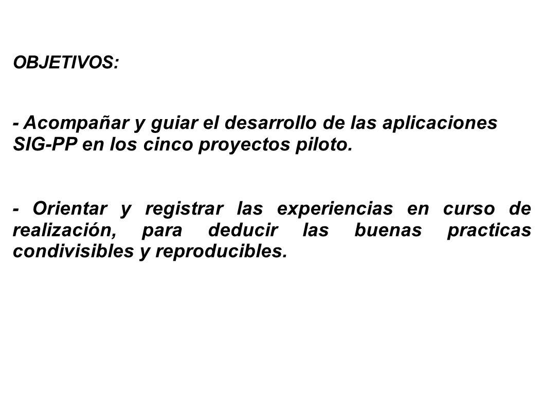 OBJETIVOS:- Acompañar y guiar el desarrollo de las aplicaciones SIG-PP en los cinco proyectos piloto.